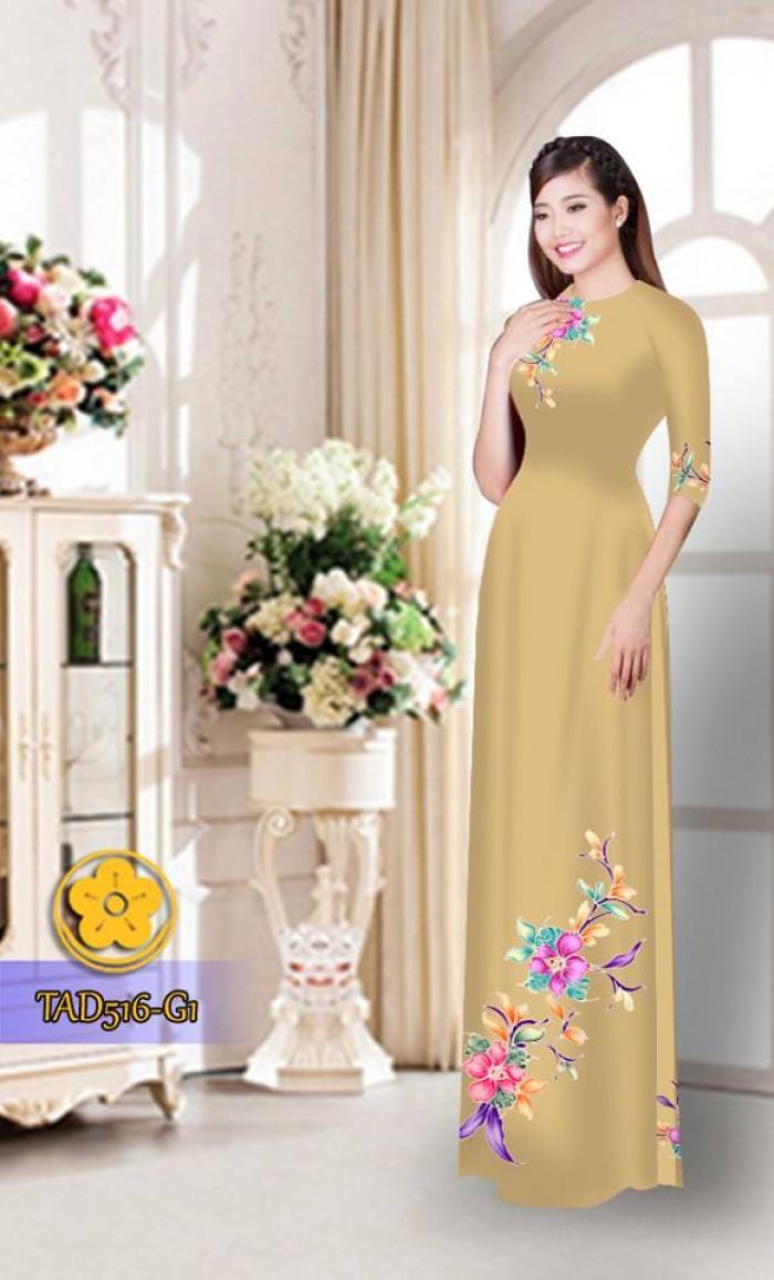 Vải áo dài hoa đẹp  TAD51610