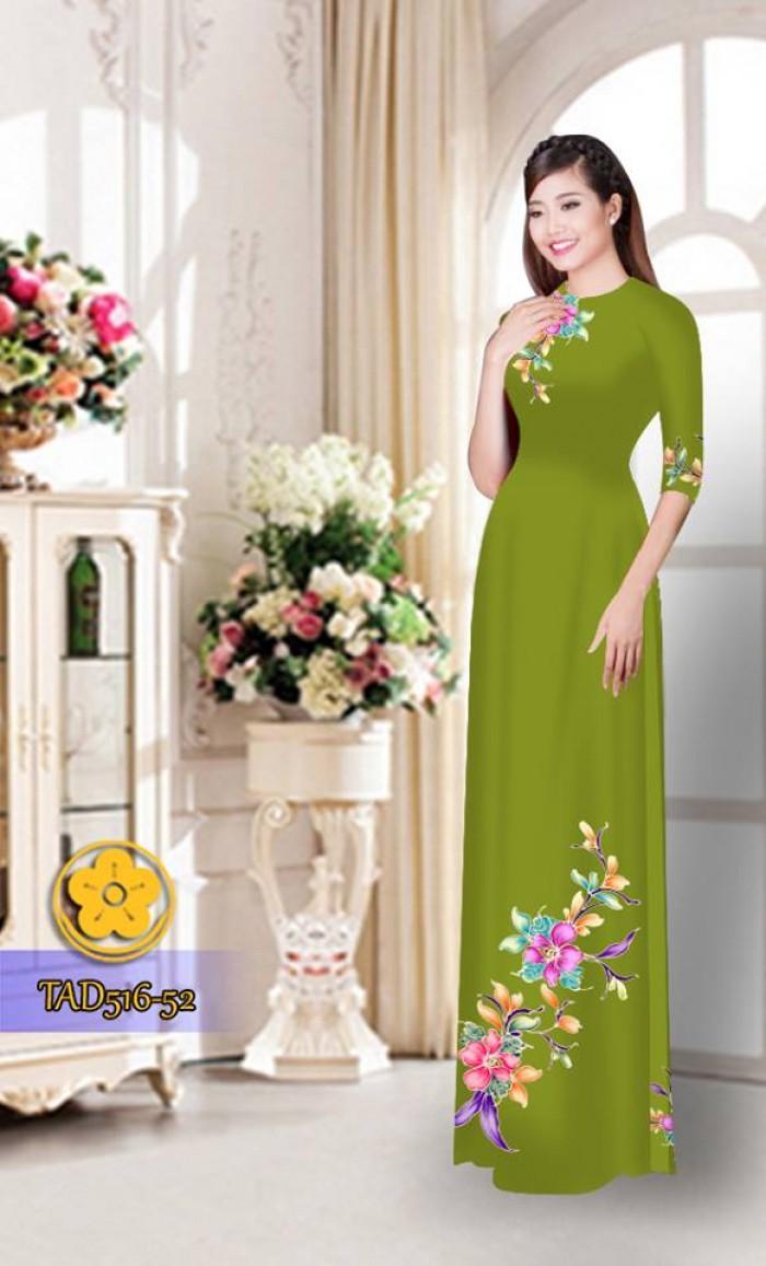 Vải áo dài hoa đẹp  TAD51611