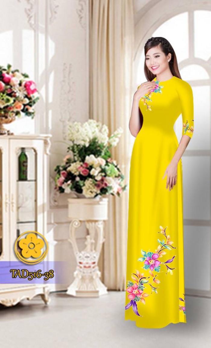 Vải áo dài hoa đẹp  TAD51613