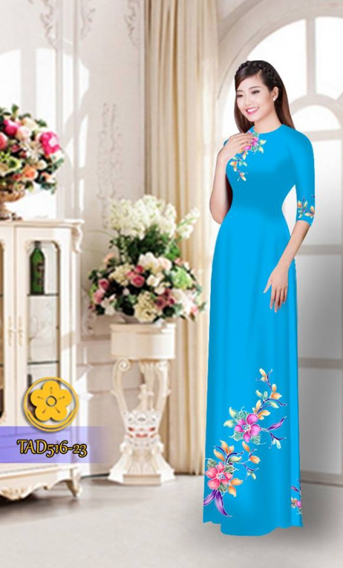 Vải áo dài hoa đẹp  TAD51614