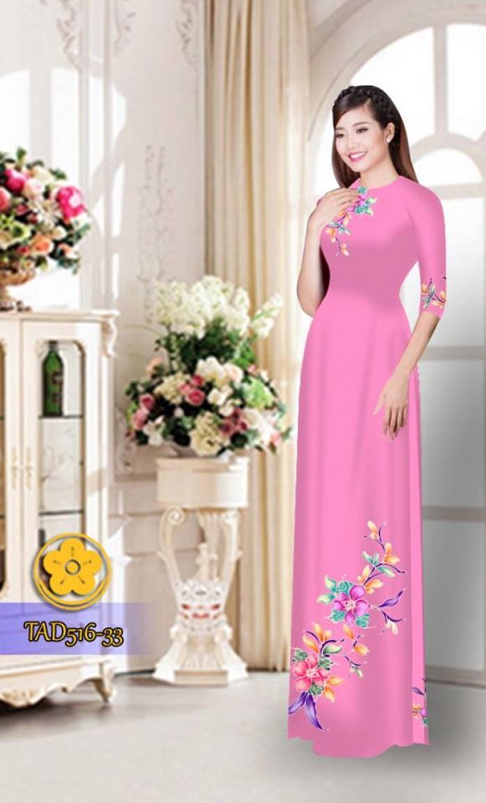 Vải áo dài hoa đẹp  TAD51615