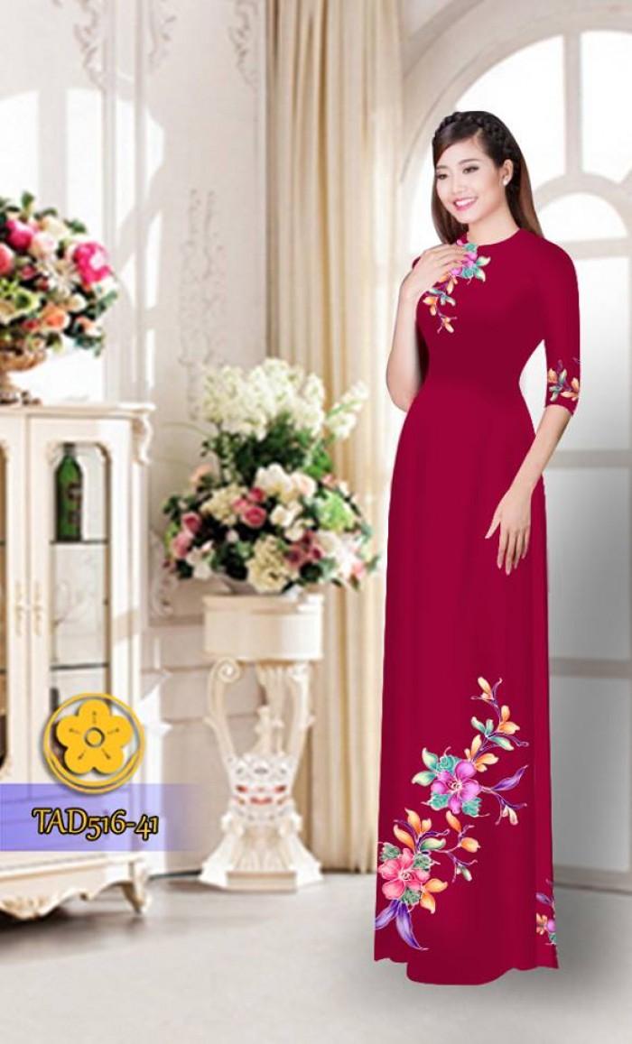 Vải áo dài hoa đẹp  TAD51616