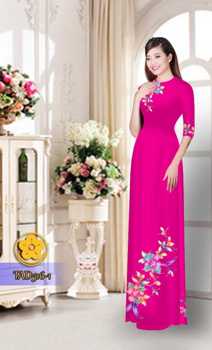 Vải áo dài hoa đẹp  TAD51617