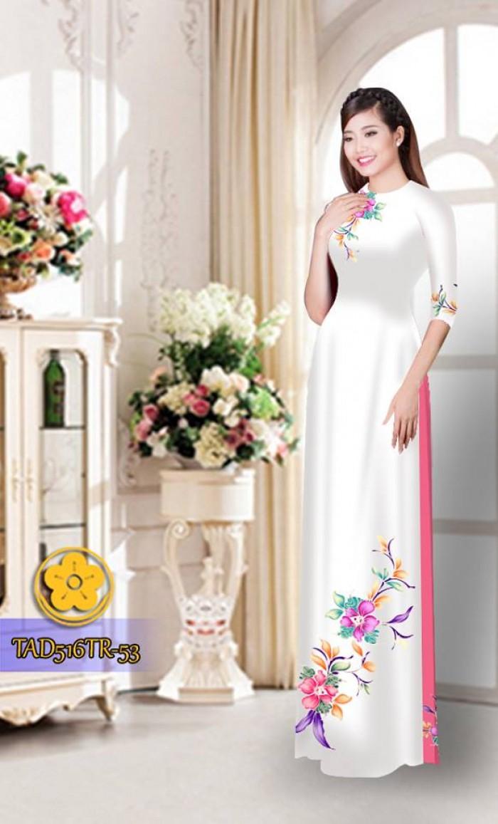 Vải áo dài hoa đẹp  TAD51618
