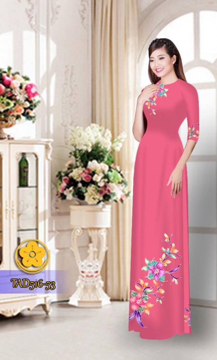 Vải áo dài hoa đẹp  TAD51620