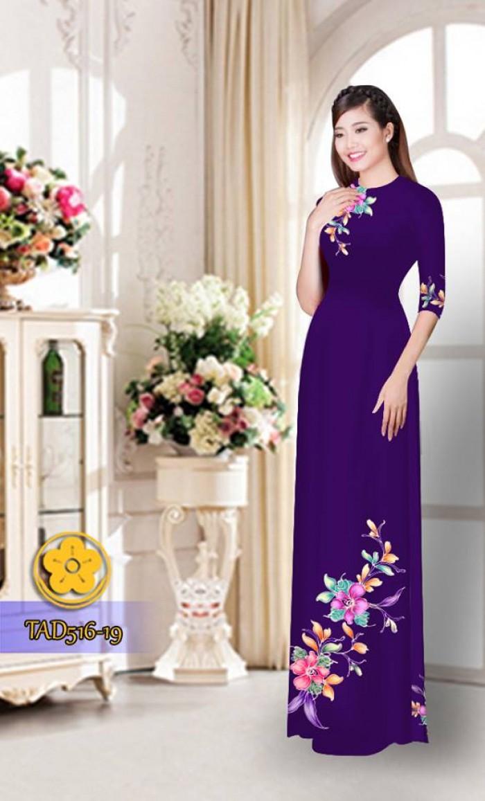 Vải áo dài hoa đẹp  TAD51621