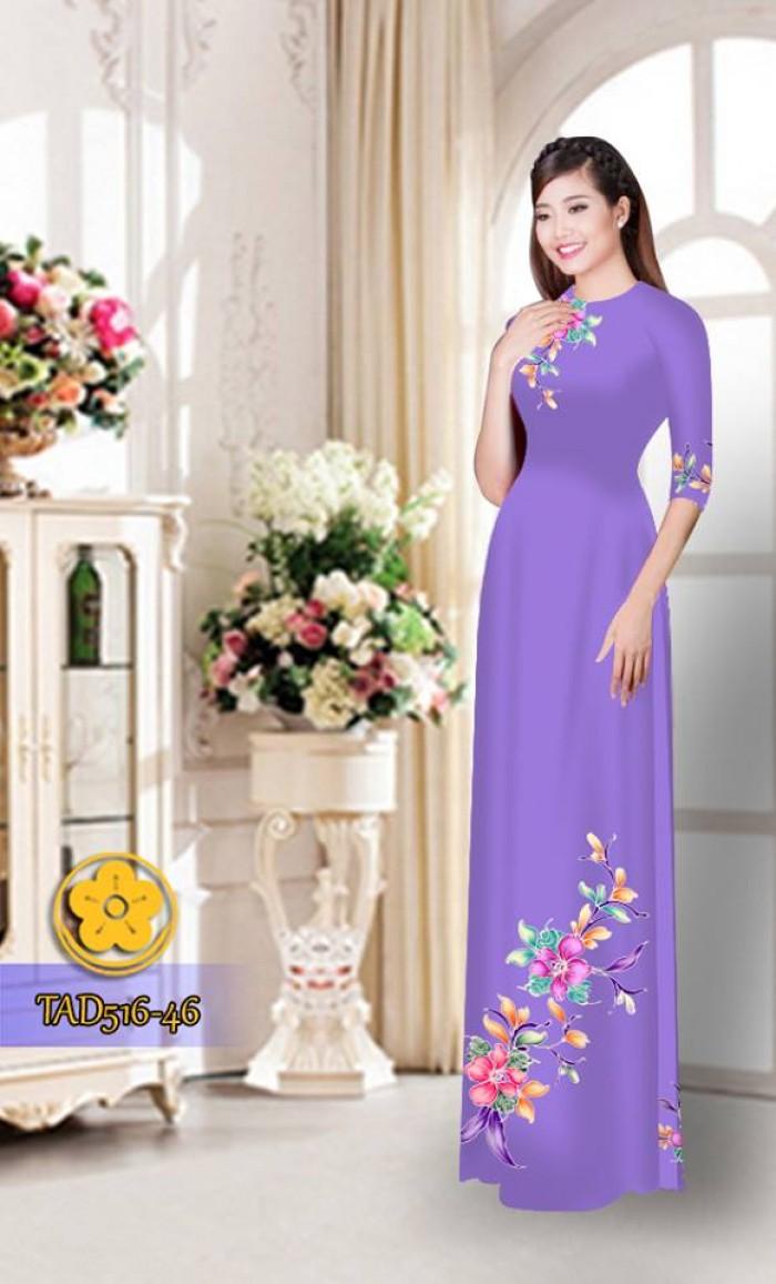 Vải áo dài hoa đẹp  TAD51623