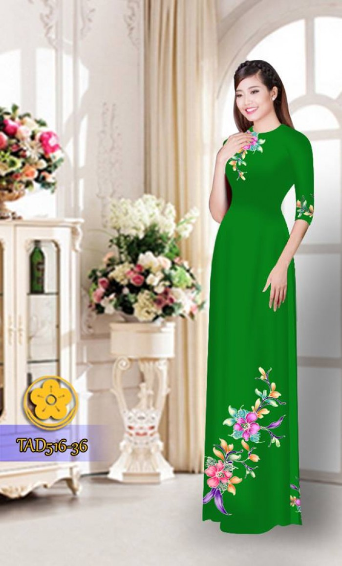 Vải áo dài hoa đẹp  TAD51624