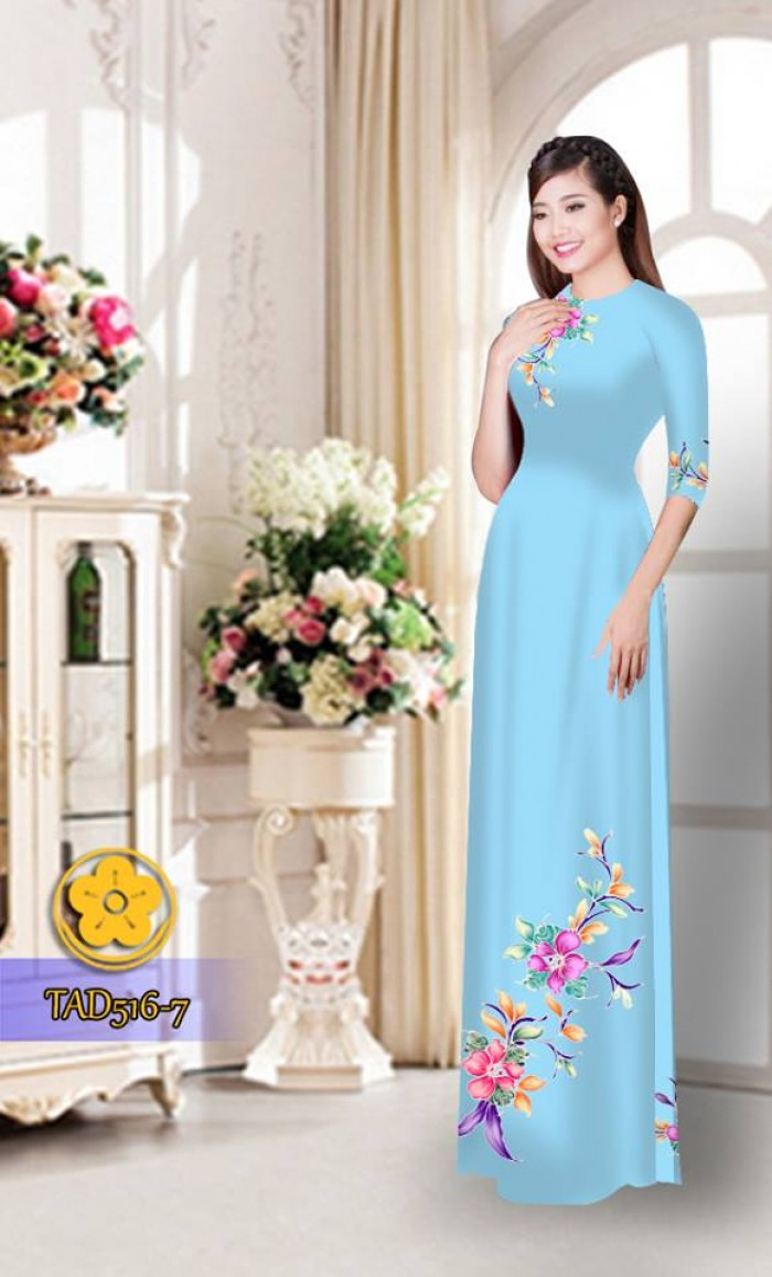 Vải áo dài hoa đẹp  TAD51625