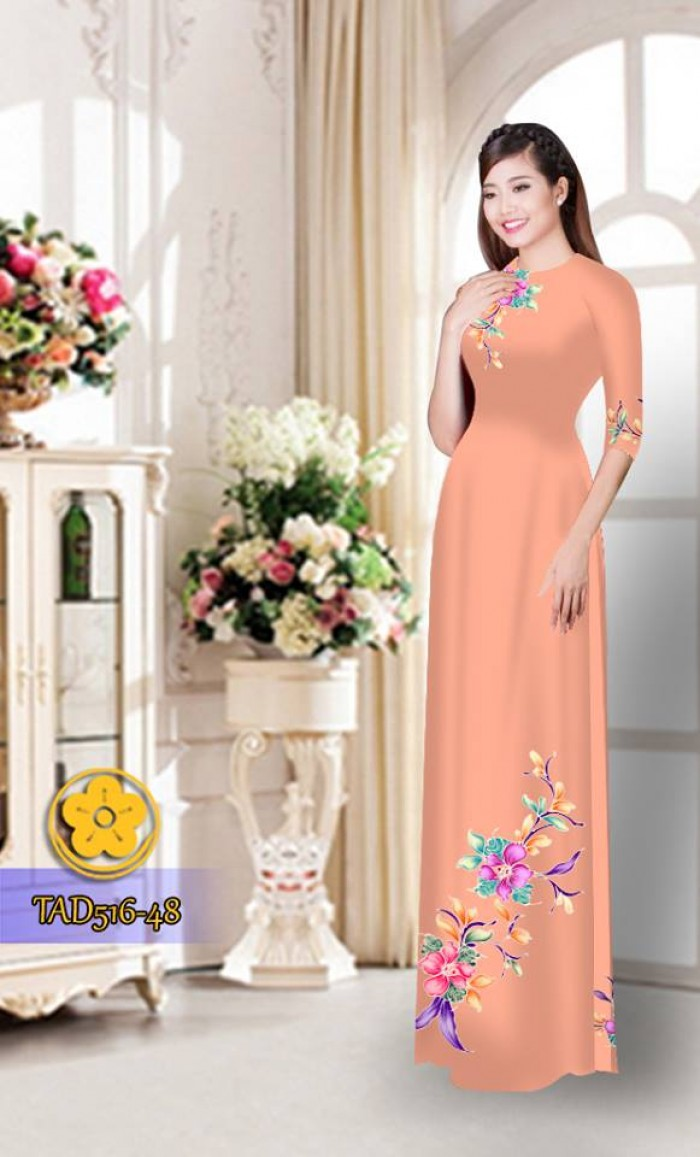 Vải áo dài hoa đẹp  TAD51626