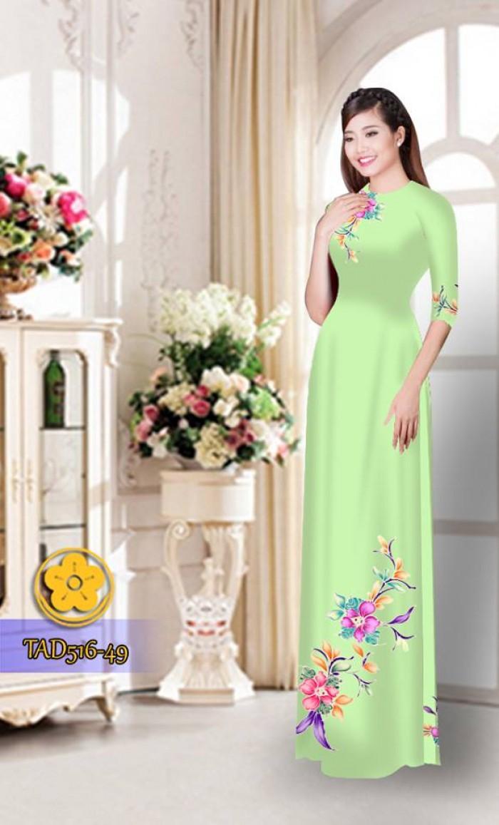 Vải áo dài hoa đẹp  TAD51627