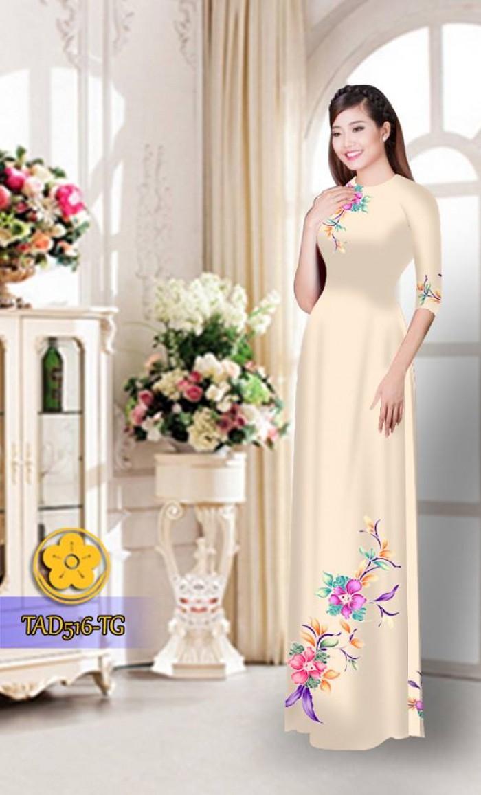 Vải áo dài hoa đẹp  TAD51629