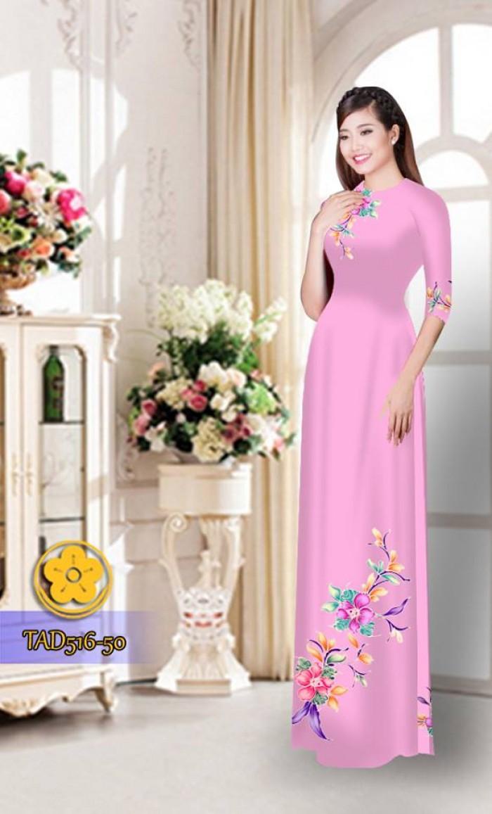 Vải áo dài hoa đẹp  TAD51630