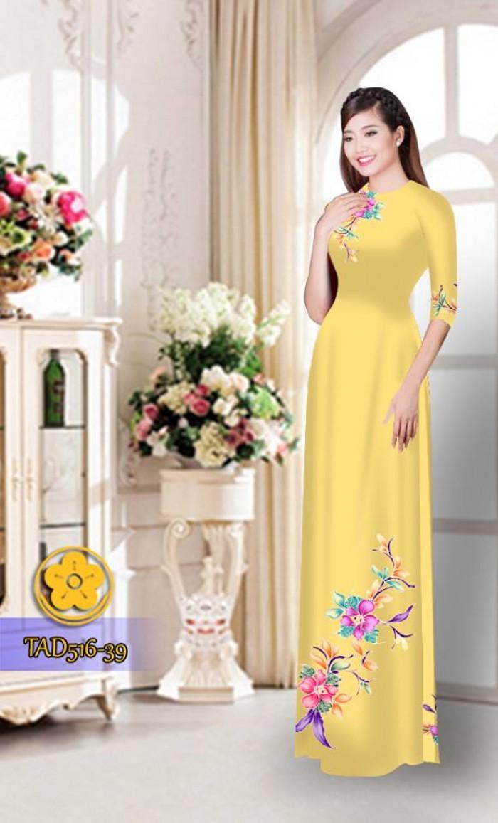 Vải áo dài hoa đẹp  TAD51631