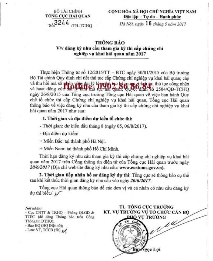 Bồi dưỡng ôn thi nghiệp vụ khai hải quan tại TP Hồ Chí Minh cho kỳ thi năm 2017 của TCHQ