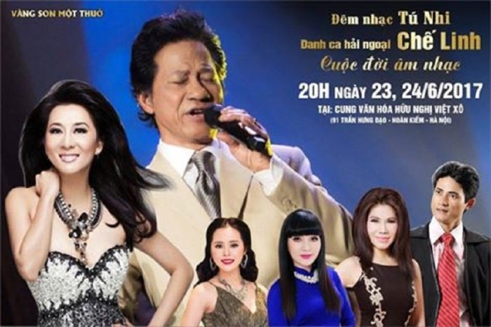 Chặng đường âm nhạc của tác giả TÚ NHI - Danh Ca CHẾ LINH vào 20h ngày 23,24/6/2017 Tại Cung Văn Hóa Việt Xô.