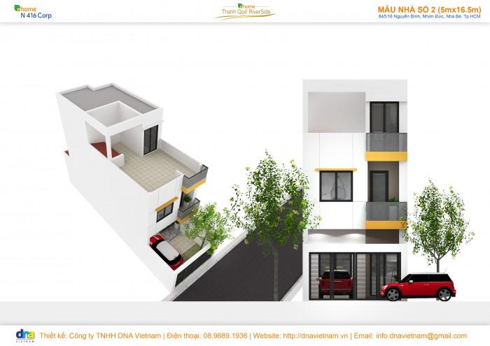 Bán nhà phố mặt tiền ven sông Nguyễn Bình Huyện Nhà Bè, 5x18 giá 1.3 tỷ 50% NH hỗ trợ