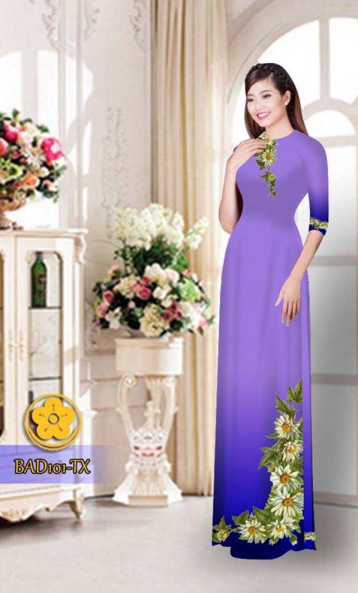 Vải áo dài hoa cúc BAD1011