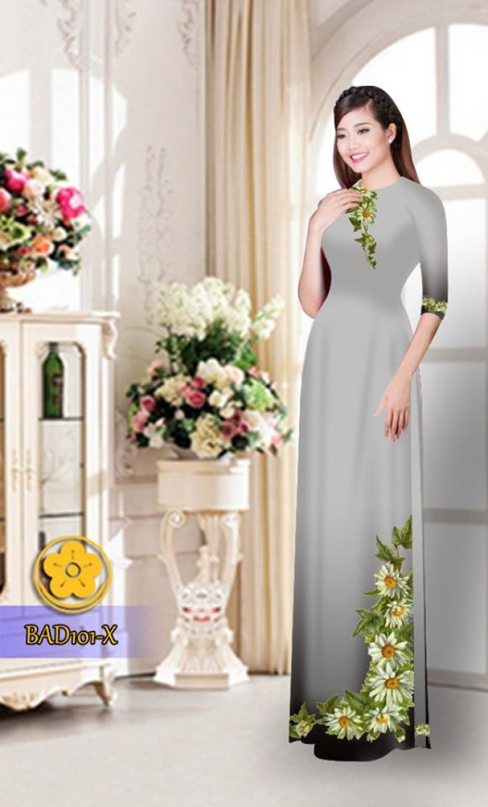 Vải áo dài hoa cúc BAD1012