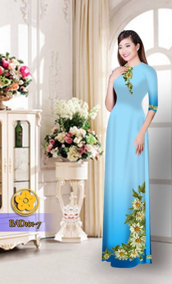 Vải áo dài hoa cúc BAD1014