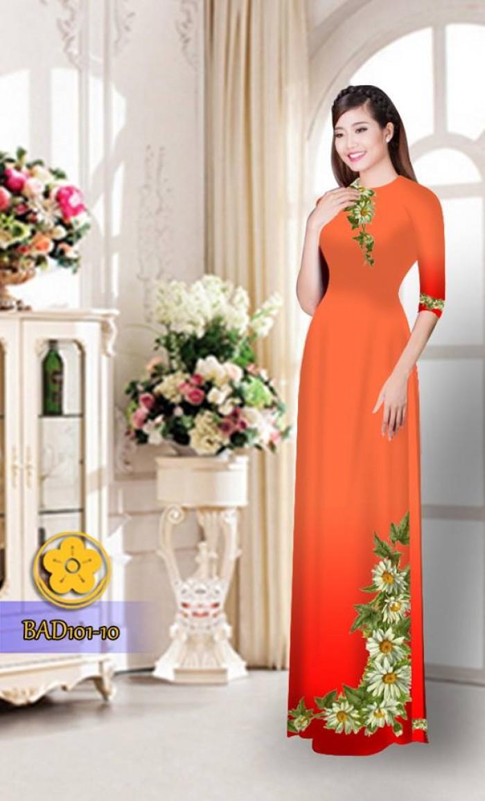 Vải áo dài hoa cúc BAD1015