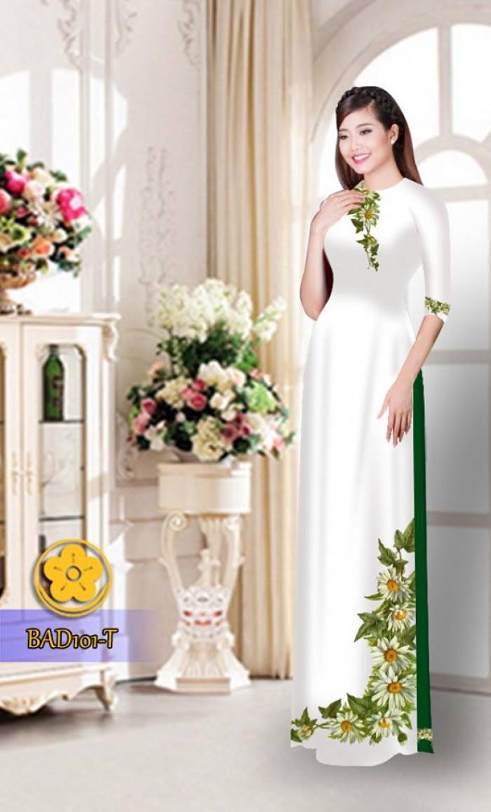 Vải áo dài hoa cúc BAD1017