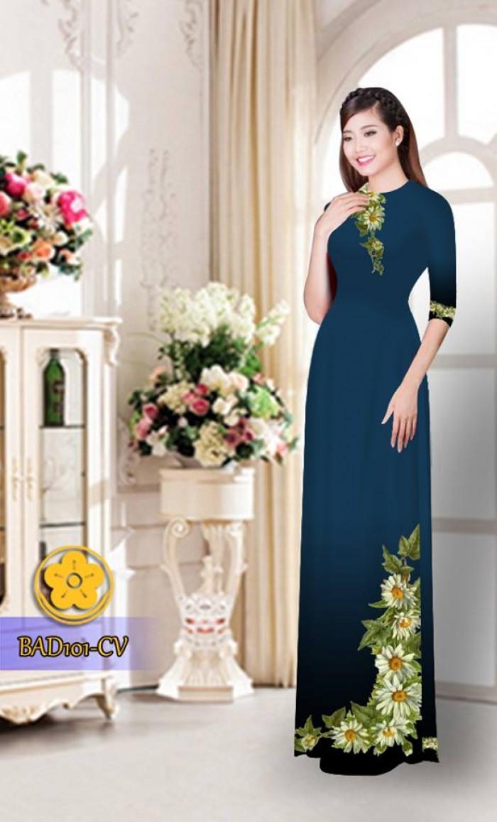 Vải áo dài hoa cúc BAD1016