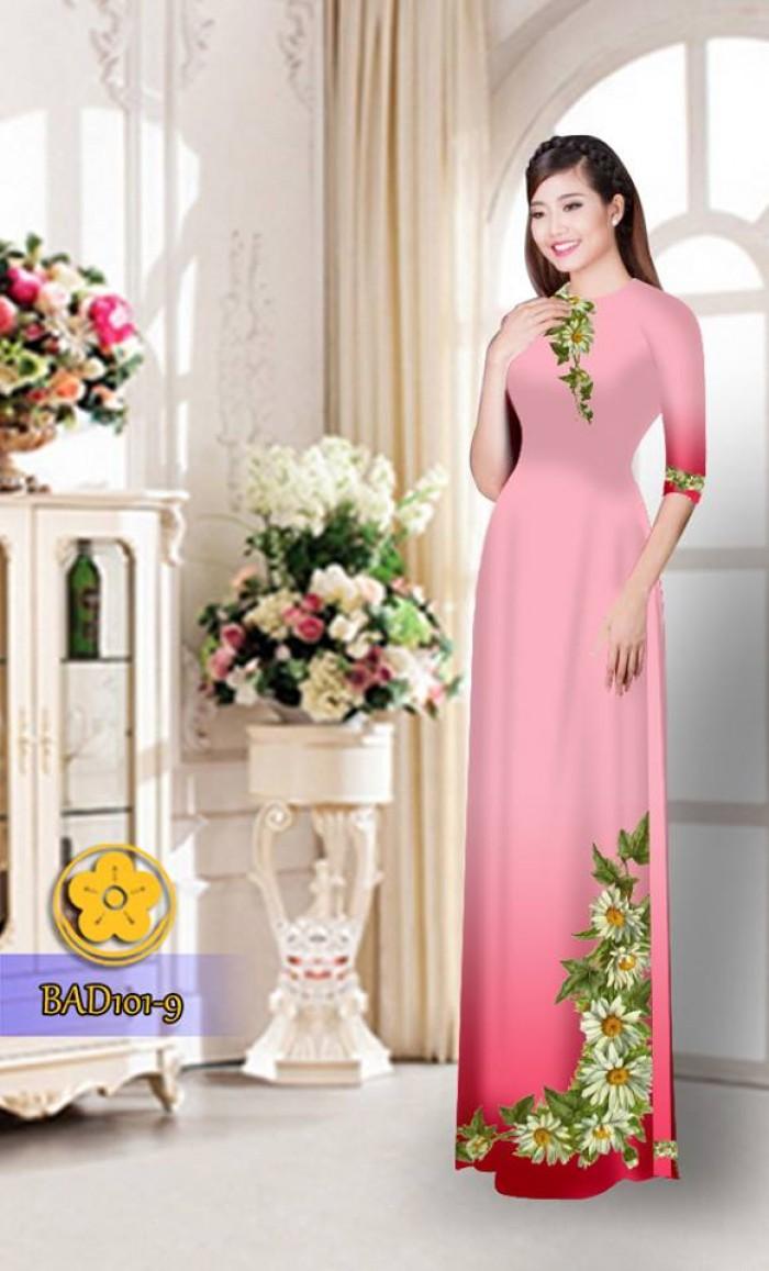 Vải áo dài hoa cúc BAD1018