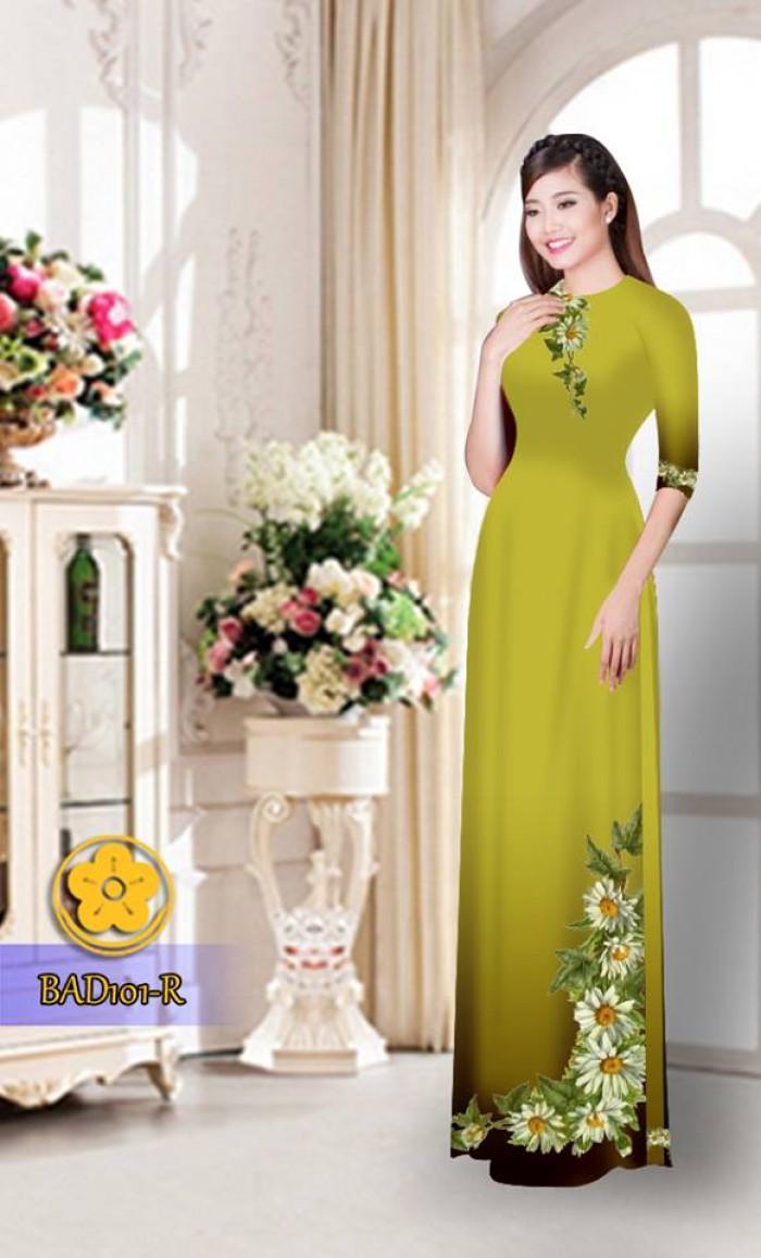 Vải áo dài hoa cúc BAD10110