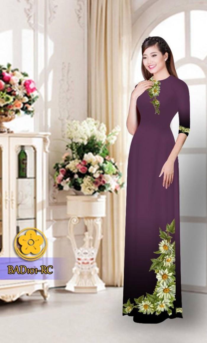 Vải áo dài hoa cúc BAD10111