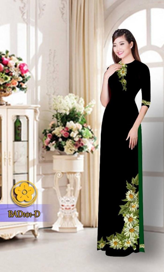 Vải áo dài hoa cúc BAD10112