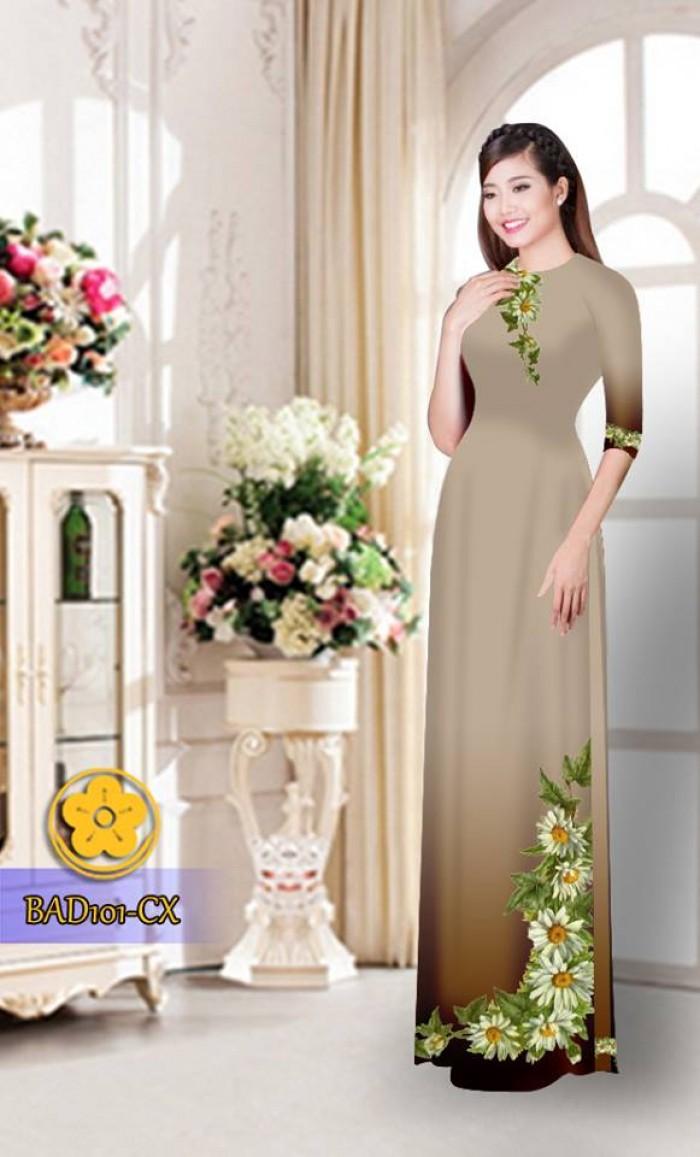 Vải áo dài hoa cúc BAD10115
