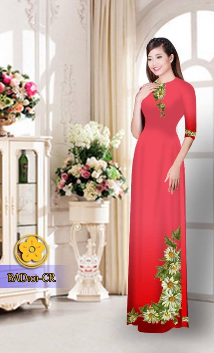 Vải áo dài hoa cúc BAD10114