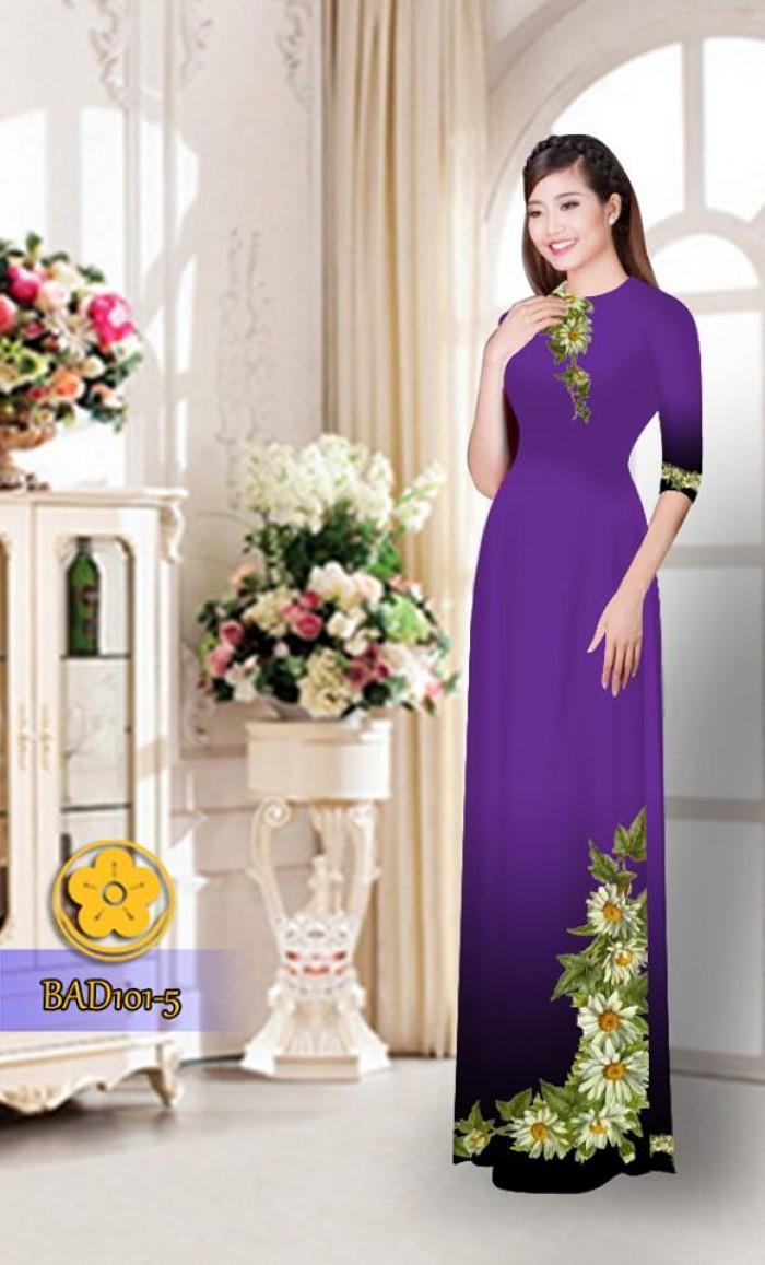 Vải áo dài hoa cúc BAD10116