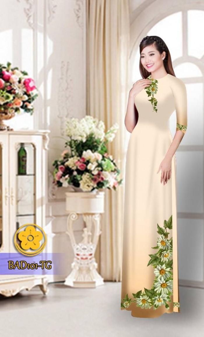 Vải áo dài hoa cúc BAD10117