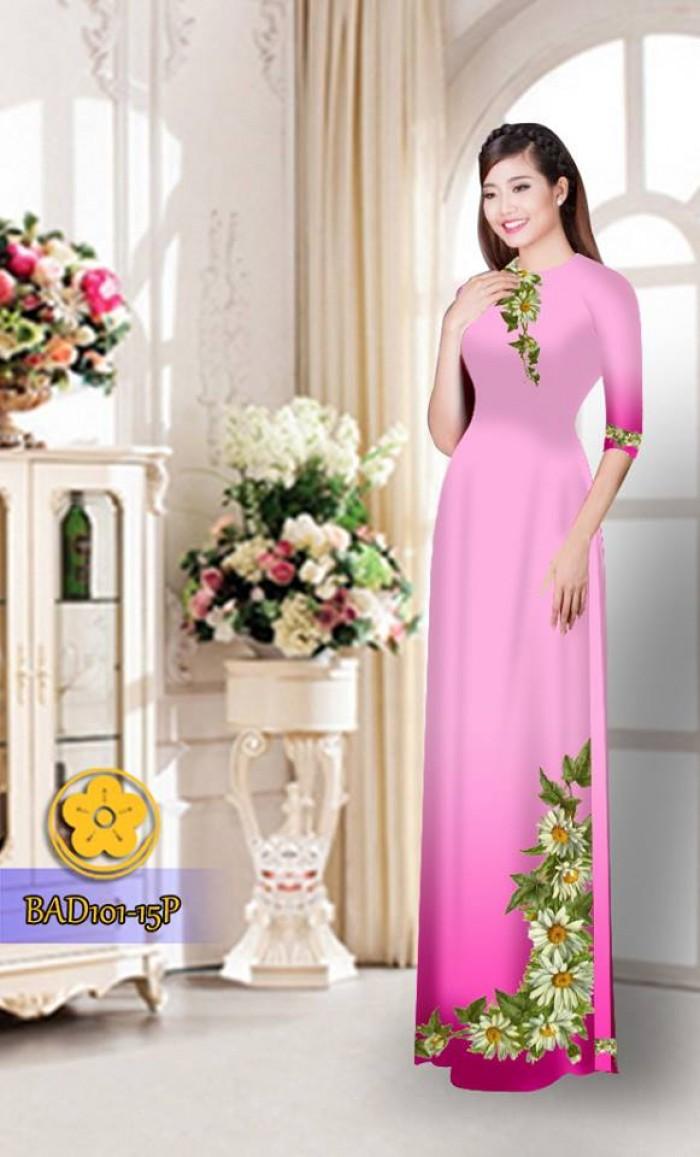 Vải áo dài hoa cúc BAD10118