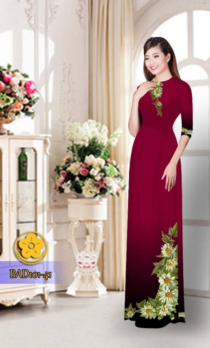 Vải áo dài hoa cúc BAD10119