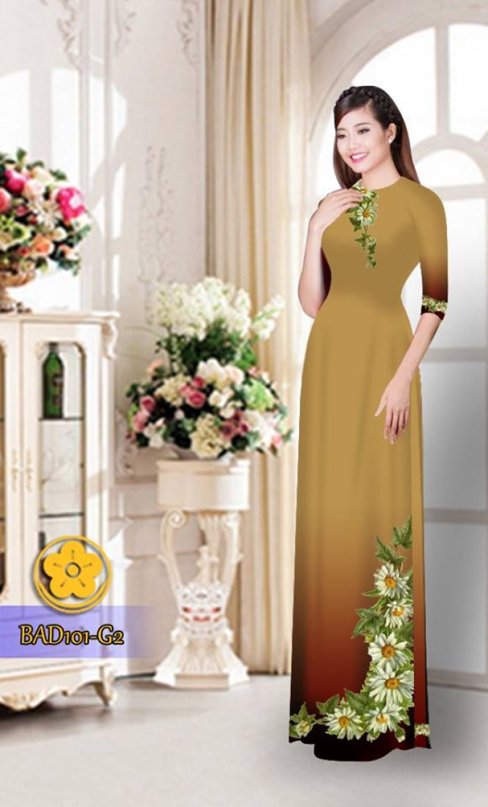 Vải áo dài hoa cúc BAD10120