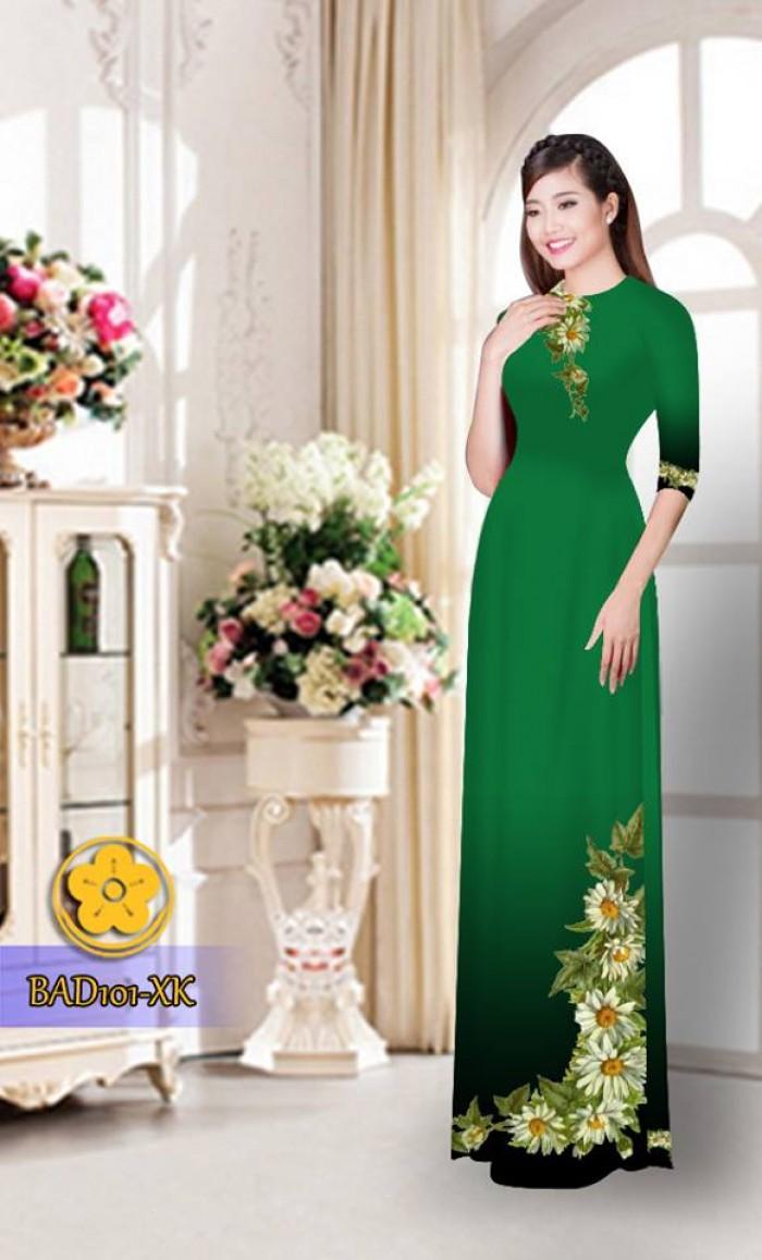 Vải áo dài hoa cúc BAD10121