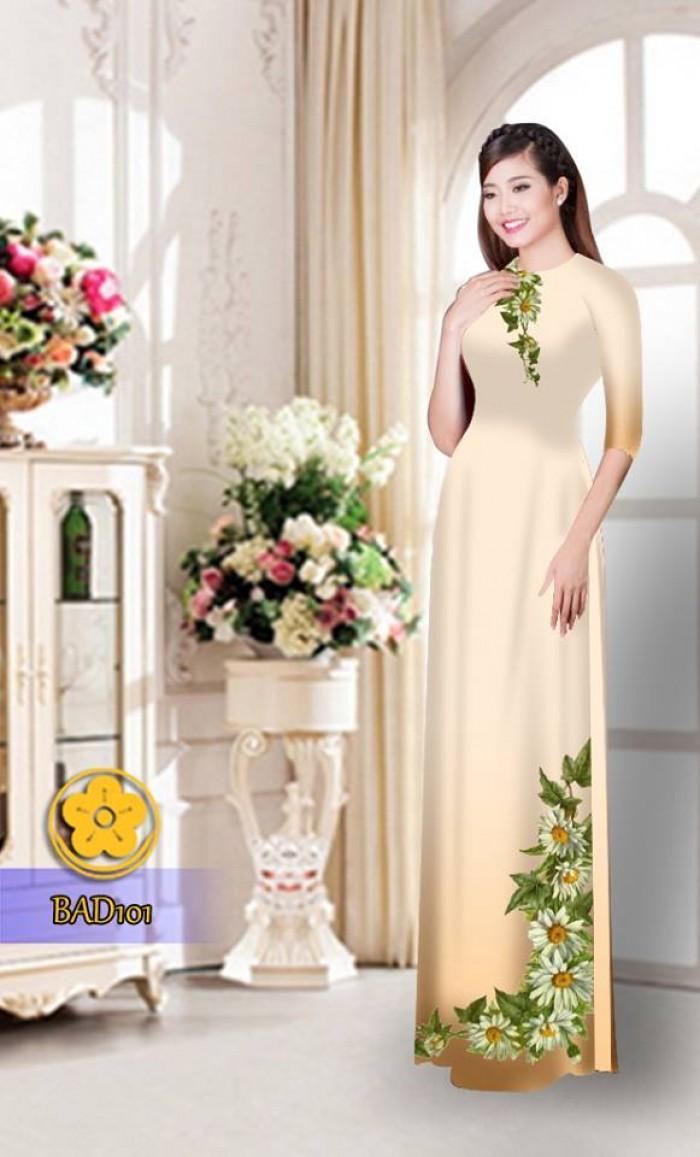 Vải áo dài hoa cúc BAD10122