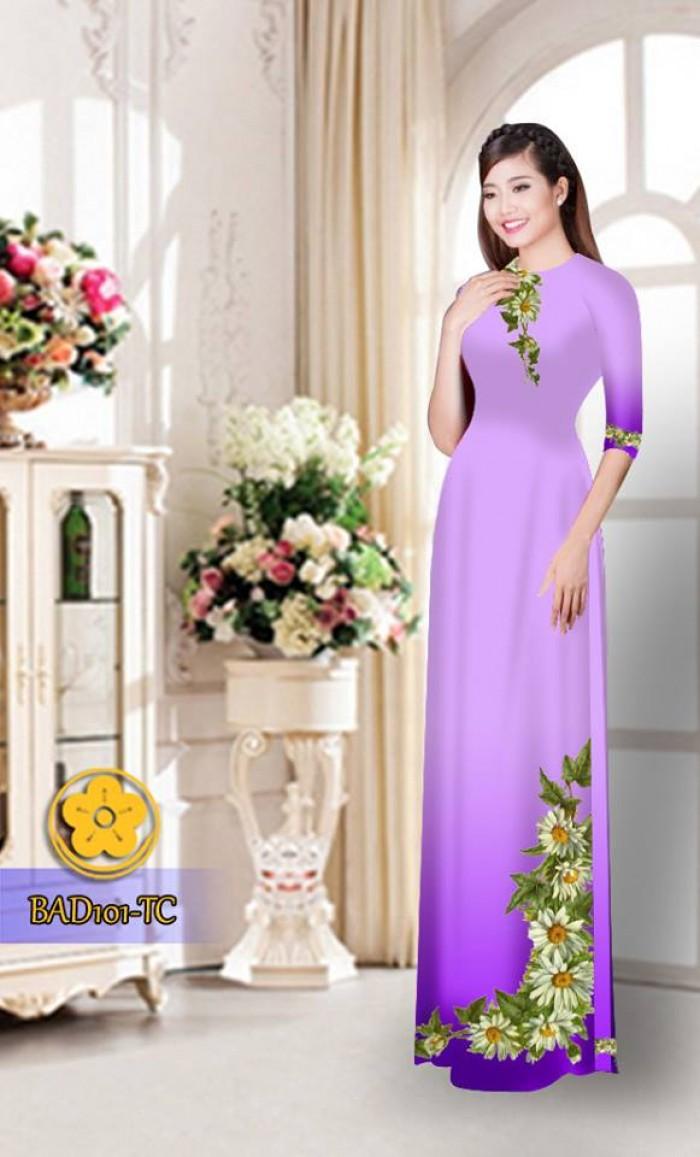Vải áo dài hoa cúc BAD10123