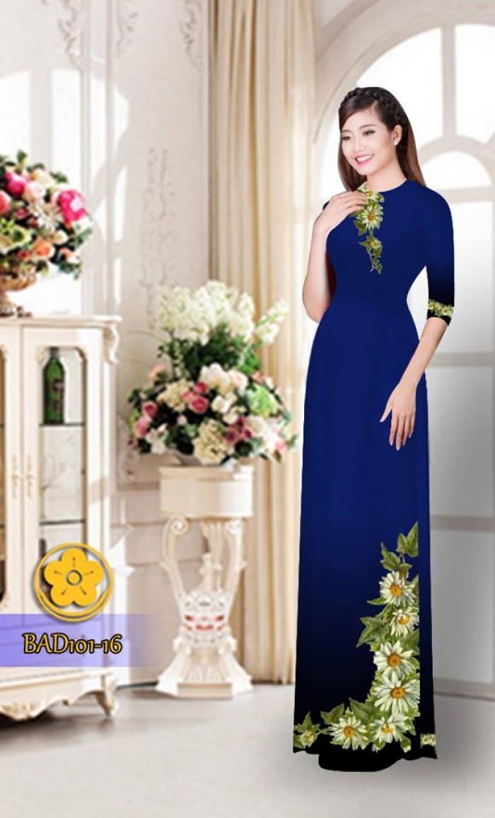 Vải áo dài hoa cúc BAD10124