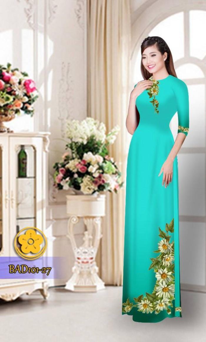 Vải áo dài hoa cúc BAD10126