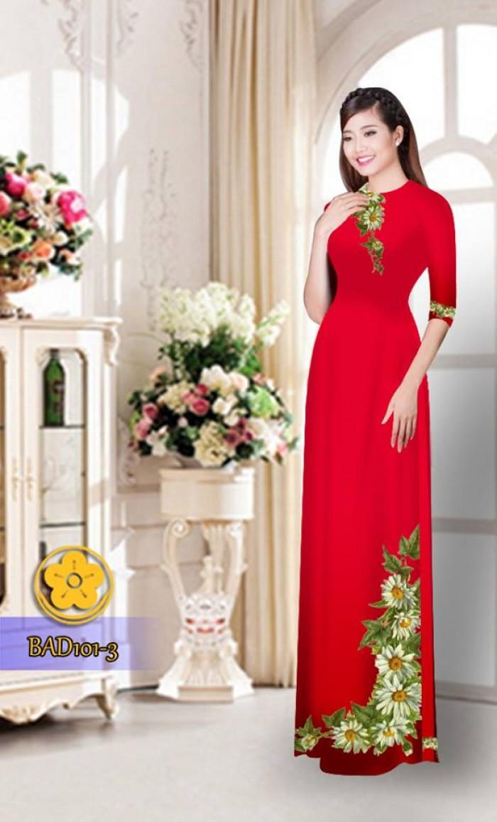 Vải áo dài hoa cúc BAD10127