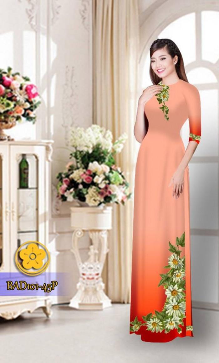 Vải áo dài hoa cúc BAD10128