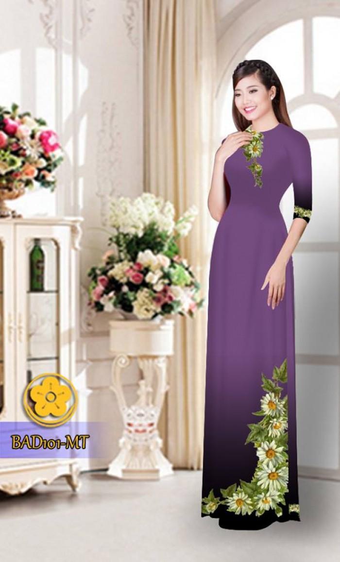Vải áo dài hoa cúc BAD10129