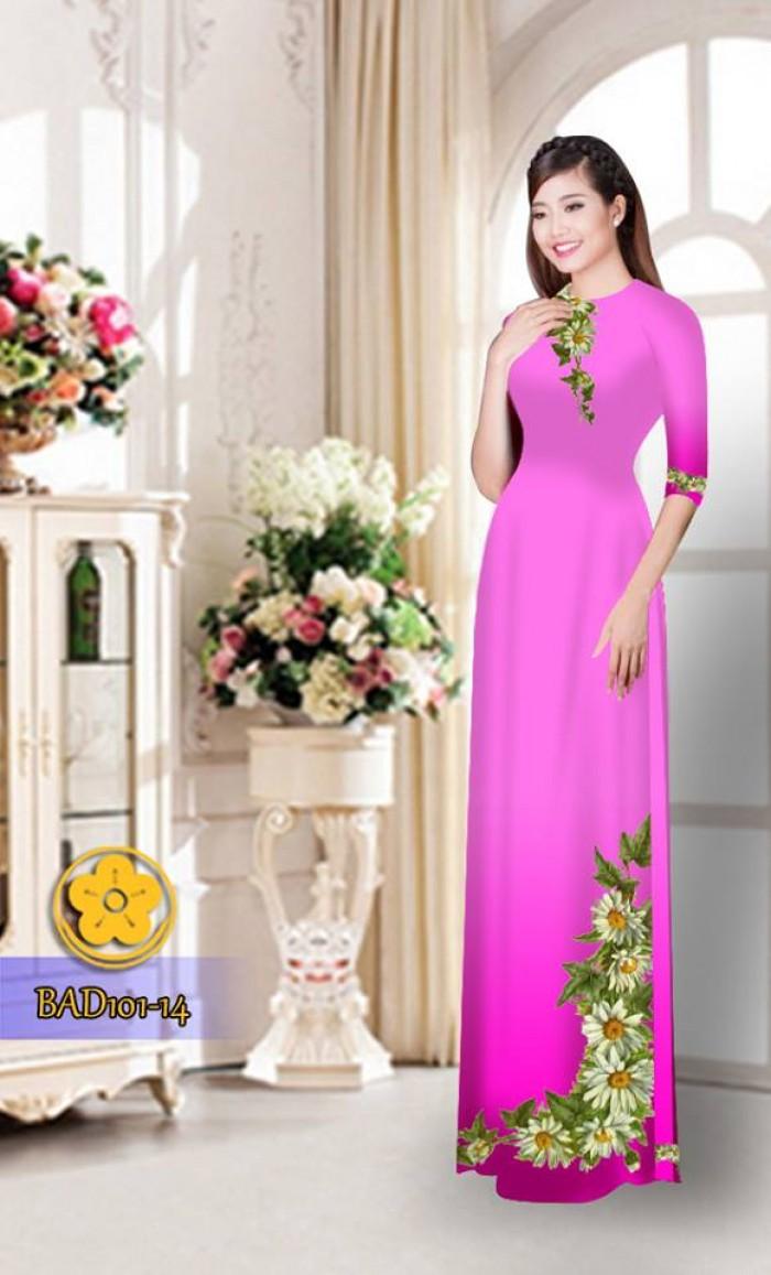 Vải áo dài hoa cúc BAD10130