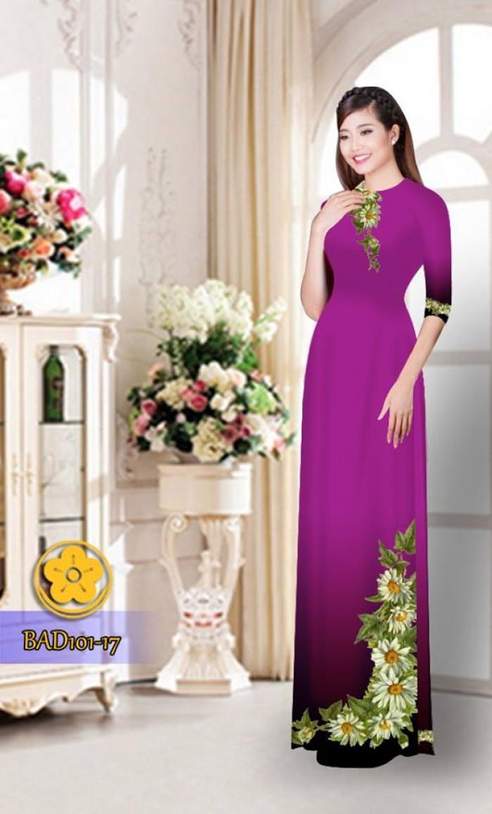 Vải áo dài hoa cúc BAD10131