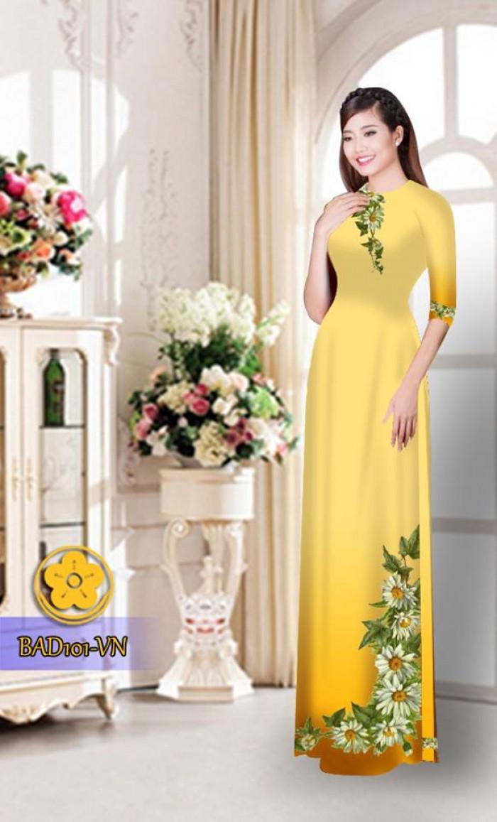 Vải áo dài hoa cúc BAD10132