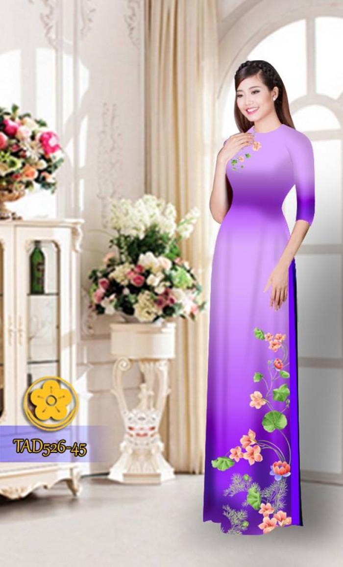 Vải áo dài hoa đẹp TAD5261